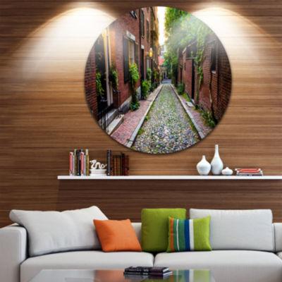 Designart Acorn Street Massachusetts Landscape Round Circle Metal Wall Art