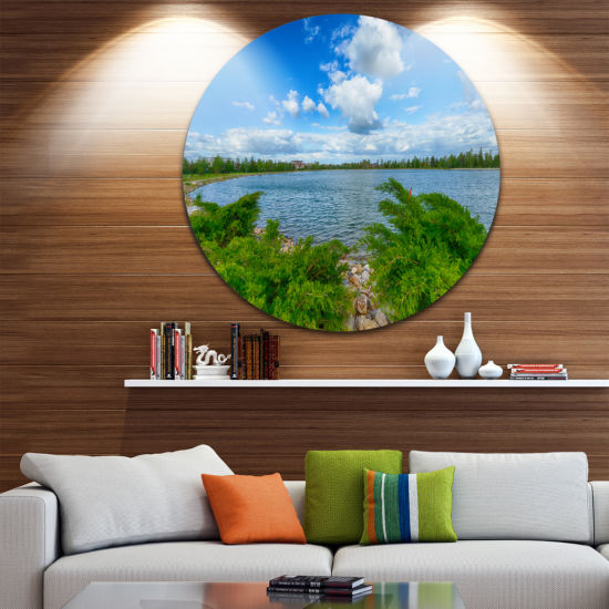 Designart Landscape with Green and Waters Landscape Round Circle Metal Wall Art