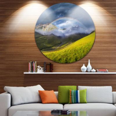 Designart Rainbow in Mountain Valley Landscape Round Circle Metal Wall Art