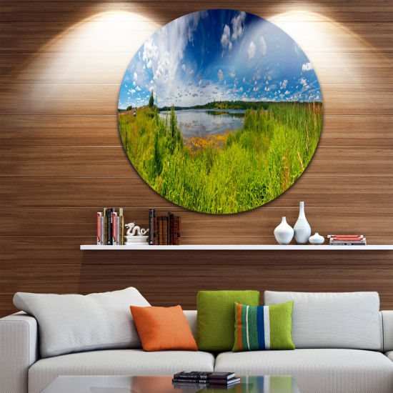 Designart Ideal Summer Meadow Panorama Landscape Round Circle Metal Wall Art