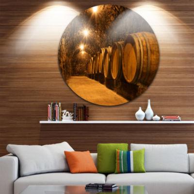 Designart Oak Barrels in the Tunnel Landscape Round Circle Metal Wall Art