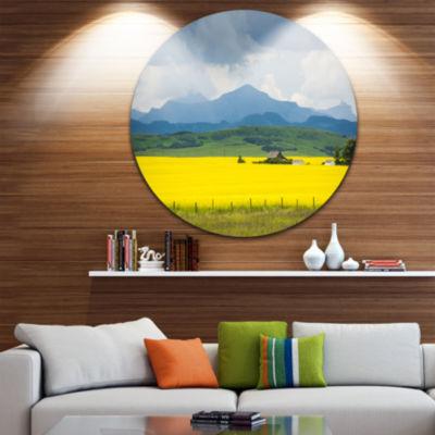 Designart Farm House in Field Of Canola LandscapeRound Circle Metal Wall Art
