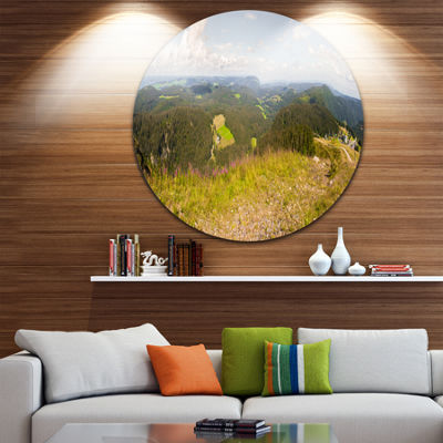 Designart Black Forest Germany Panorama LandscapeRound Circle Metal Wall Art
