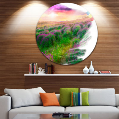 Designart Brushes Painting the Nature Landscape Round Circle Metal Wall Art