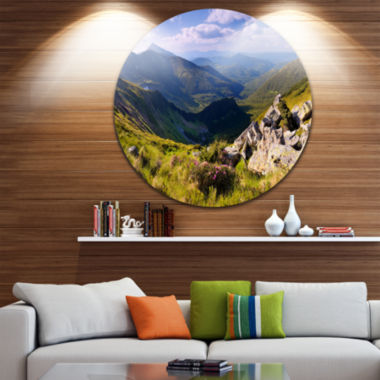 Designart Rocky Summer Hills under Blue Sky Landscape Round Circle Metal Wall Art