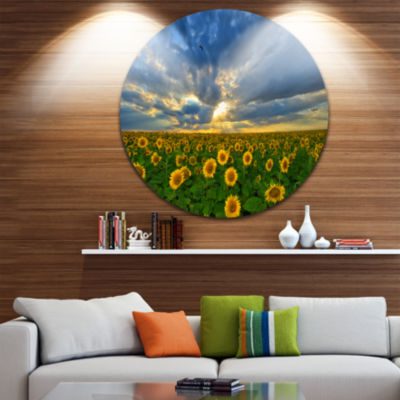 Designart Beauty Sunset over Sunflowers LandscapeRound Circle Metal Wall Art