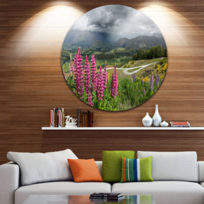 Designart Flowering Landscape of New Zealand Landscape Round Circle Metal Wall Art