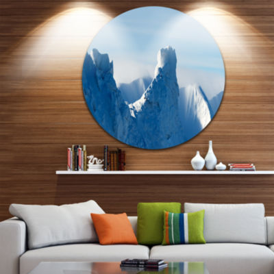 Designart Blue Winter Hills Panorama Landscape Round Circle Metal Wall Art