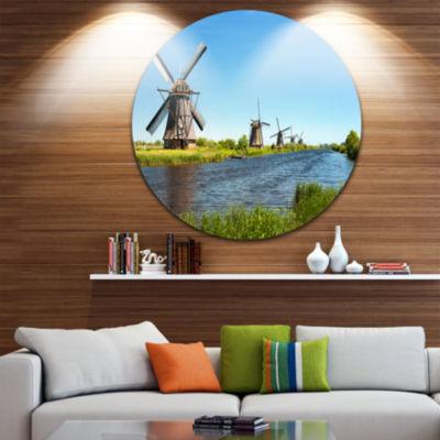 Designart Windmills at Kinderdijk Landscape RoundCircle Metal Wall Art