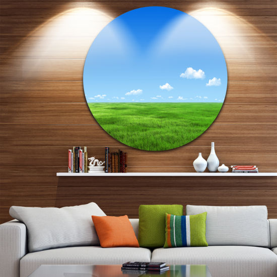 Designart Green Meadow and Blue Sky Landscape Round Circle Metal Wall Art