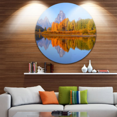 Designart Grand Tetons Panorama Large Landscape Round Circle Metal Wall Art