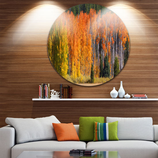 Designart Fall Trees Panorama Landscape Round Circle Metal Wall Art