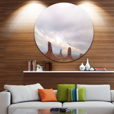 Designart Monument Valley Panorama Landscape RoundCircle Metal Wall Art