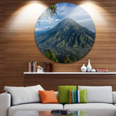 Designart Merbabu Volcano in Java Large LandscapeRound Circle Metal Wall Art