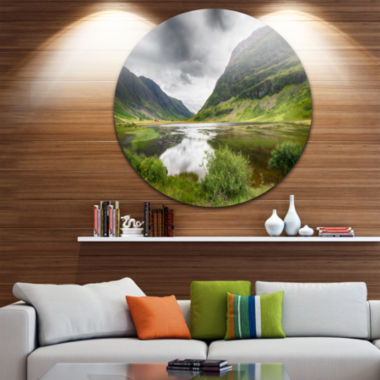Designart Valley Of Glencoe in Green Landscape Round Circle Metal Wall Art