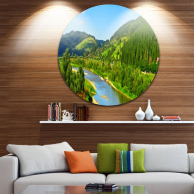 Design Art Green Mountains and River Landscape Round Circle Metal Wall Art