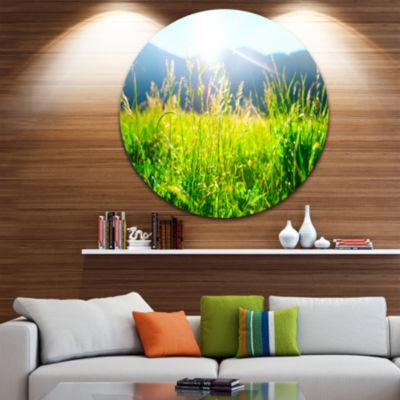 Designart Beautiful Green Nature Wonder LandscapeRound Circle Metal Wall Art