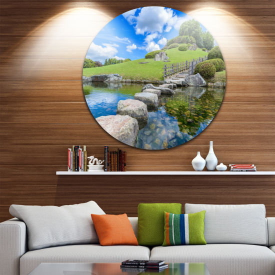Designart Japanese Garden in Okayama Landscape Round Circle Metal Wall Art