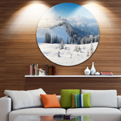 Designart Sunny Morning in Mountains Landscape Round Circle Metal Wall Art