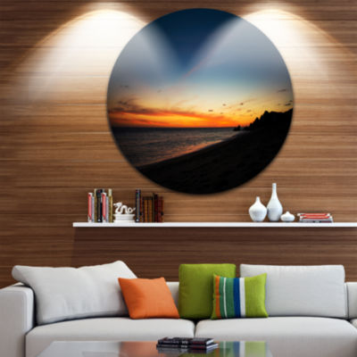 Designart Sunset Over Beach in Cabo St.Lucas Landscape Round Circle Metal Wall Art
