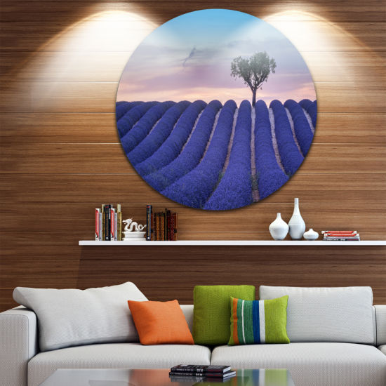Designart Lonely Trees Uphill on Sunset LandscapeRound Circle Metal Wall Art