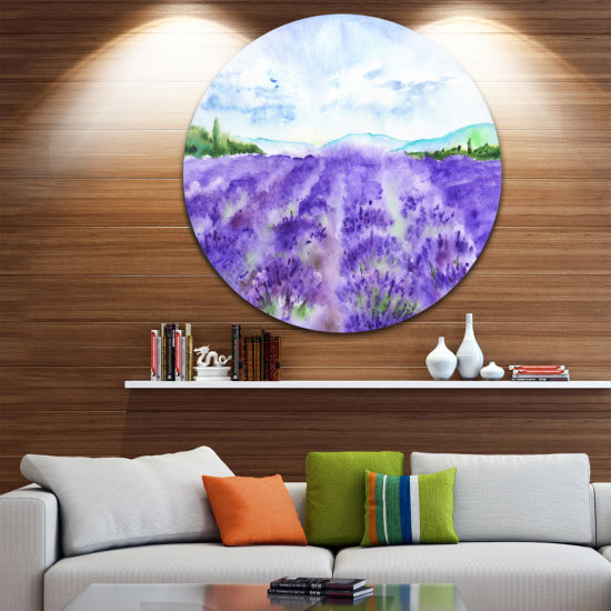 Designart Lavender Fields Watercolor Landscape Round Circle Metal Wall Art