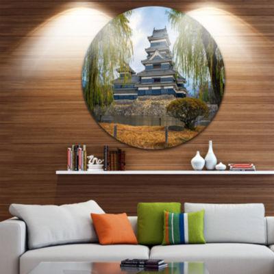 Designart Matsumoto Castle Japan Landscape RoundCircle Metal Wall Art