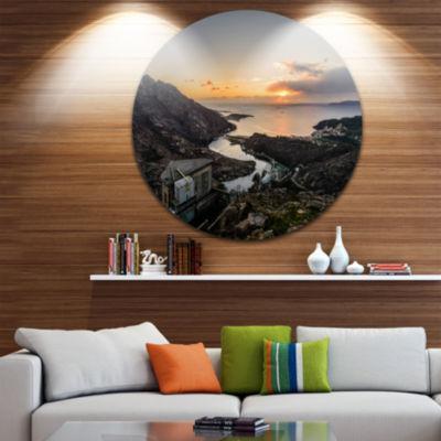 Designart Ezaro Panorama Galicia Spain Landscape Round Circle Metal Wall Art