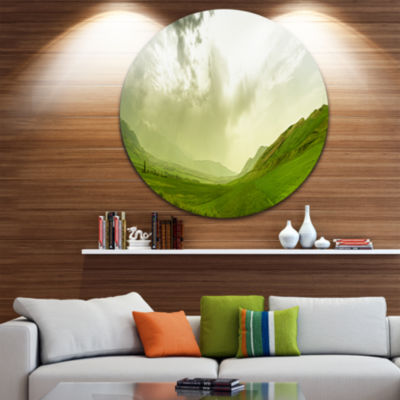 Designart Meadow under Clouds Panorama Landscape Round Circle Metal Wall Art