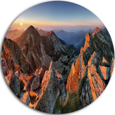Designart Majestic Sunset in Fall Mountains Landscape Round Circle Metal Wall Art