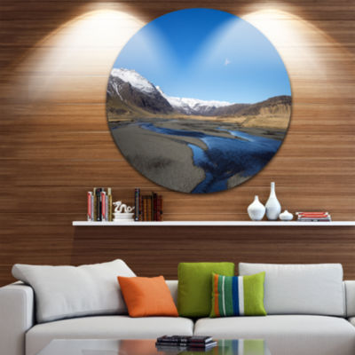 Design Art Mountains and Lakes Iceland Landscape Round Circle Metal Wall Art