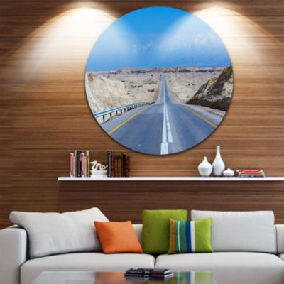 Designart Beautiful Desert Road Israel Landscape Round Circle Metal Wall Art