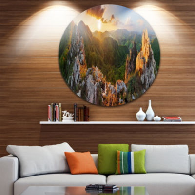 Designart Panorama Mountains Slovakia Landscape Round Circle Metal Wall Art