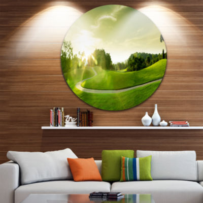 Designart Beautiful Green Valley Panorama Landscape Round Circle Metal Wall Art