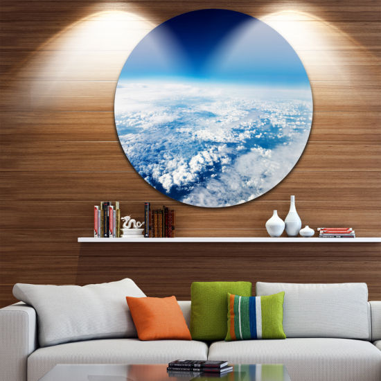 Designart Stunning View from Airplane Landscape Round Circle Metal Wall Art
