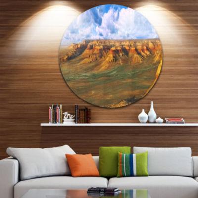 Designart Plateau Ustyurt Panorama Landscape RoundCircle Metal Wall Art