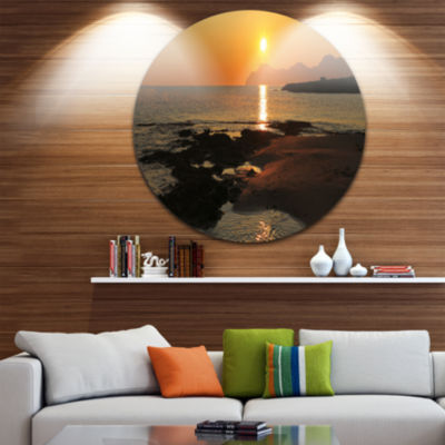 Designart Dawn on Majorca Panorama Landscape RoundCircle Metal Wall Art