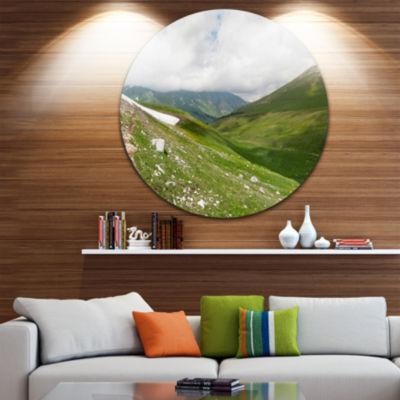 Designart North Caucasus Green Mountains LandscapeRound Circle Metal Wall Art