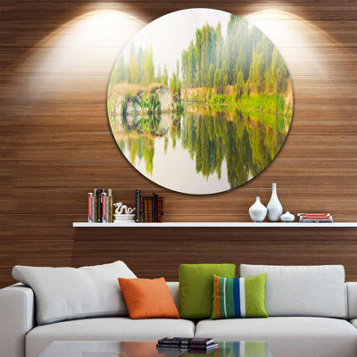 Designart River and Forest Panorama Landscape Round Circle Metal Wall Art