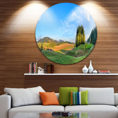 Designart Long Panorama with Little Forest Landscape Round Circle Metal Wall Art