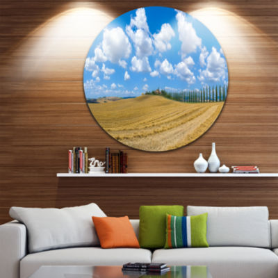 Designart Tuscany with Traditional Farm House Landscape Round Circle Metal Wall Art