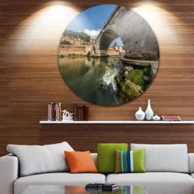 Designart Cestius Bridge Over Tiber River Landscape Round Circle Metal Wall Art