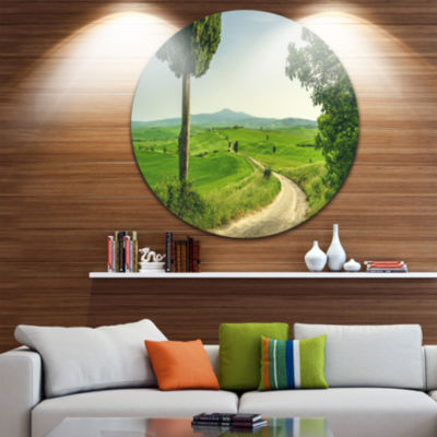 Designart Tuscan Place in Rural Area Landscape Round Circle Metal Wall Art
