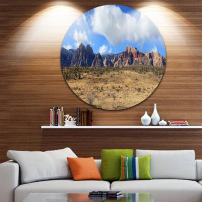 Designart Red Rock Canyon Landscape Landscape Round Circle Metal Wall Art