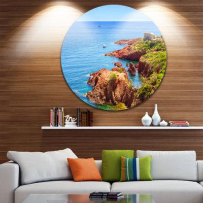 Designart Esterel Rocks Beach Coast Landscape Round Circle Metal Wall Art