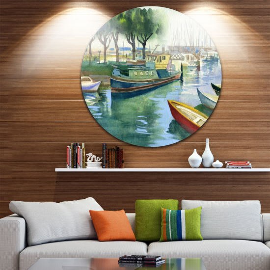 Designart Boats in River Watercolor Landscape Round Circle Metal Wall Art