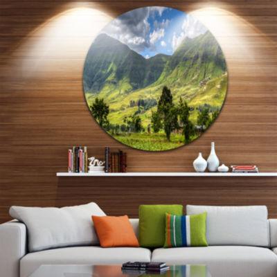 Designart Lesotho Mountains Panorama Landscape Round Circle Metal Wall Art