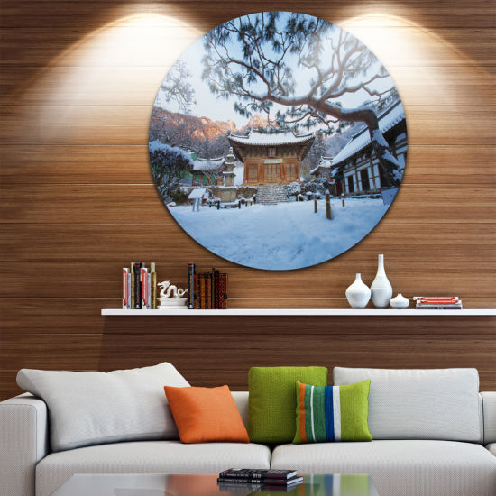 Designart Naesosa Temple in South Korea LandscapeRound Circle Metal Wall Art