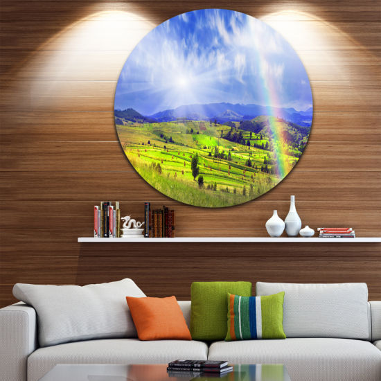 Designart Stacks in Carpathian Mountains LandscapeRound Circle Metal Wall Art