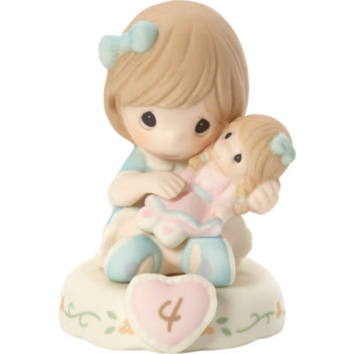 "Precious Moments  ""Growing In Grace  Age 4""  Bisque Porcelain Figurine  Brunette Girl  #152010B"